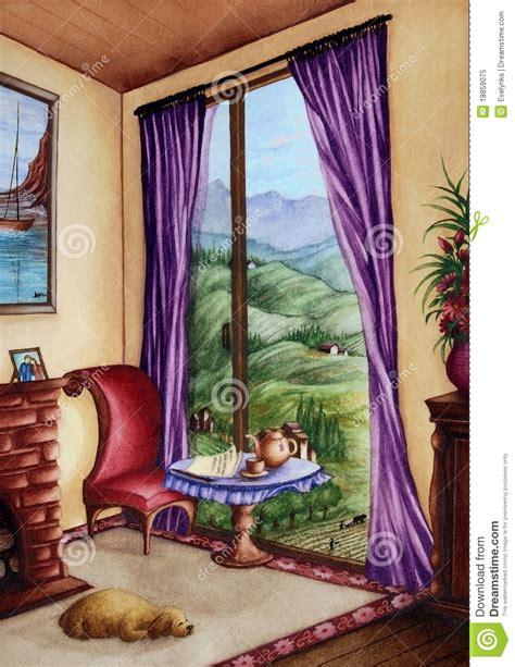 mountain scene    window stock illustration