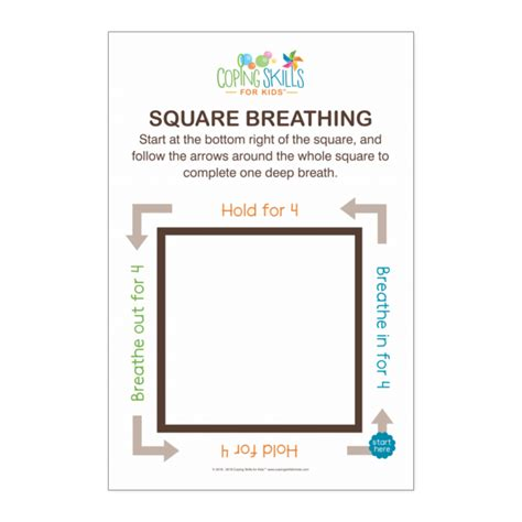 deep breathing square poster coping skills  kids