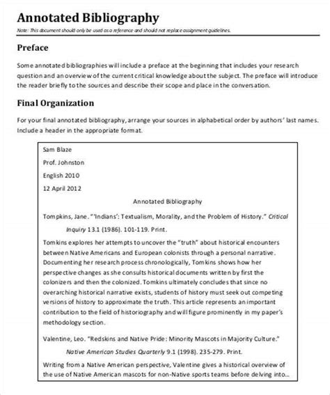 annotated bibliography templates  word  format  premium templates
