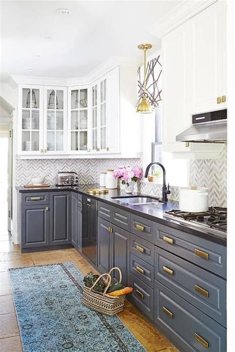 country kitchen  white upper cabinets  gray