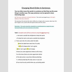 Changing Word Order In Sentences
