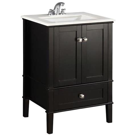 home depot bathroom vanities with tops simpli home chelsea 24 in vanity in black with quartz