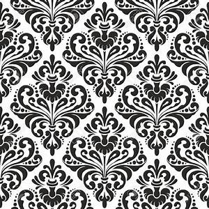Black And White Seamless Damask Wallpaper Pattern Royalty ...