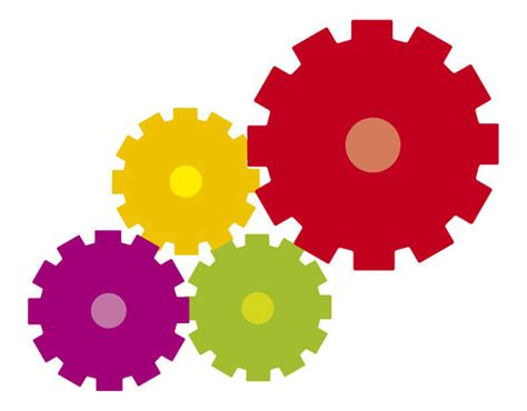 digital illustration  colourful cogs  print
