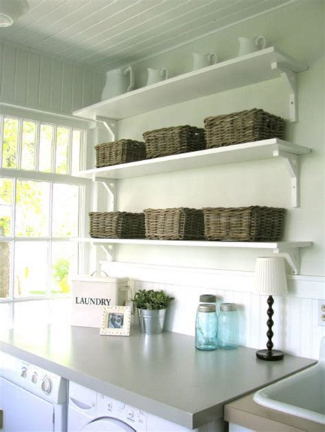 white storage bench with wicker baskets laundry room ideas budget and easy to do