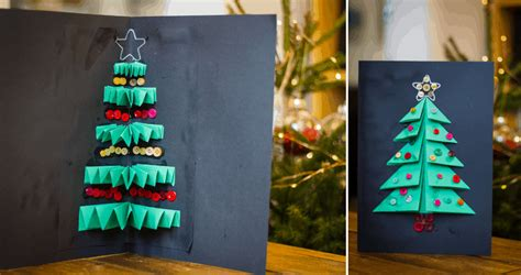 Here are some examples of christmas calendar and cards. Christmas Tree Card Craft for Kids Using Folded Paper - Someone's Mum