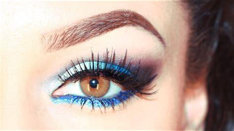 blaues augen makeup blue ocean smokey eyeshadow youtube