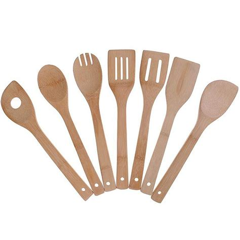 utensils kitchen cooking wooden bamboo spoons spatula tools inch pack utensil sets cookware