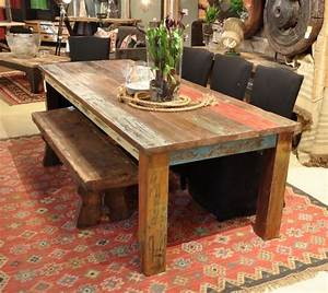"""Vintage Multicolor 107"""" Dining Table - Rustic - Dining"""