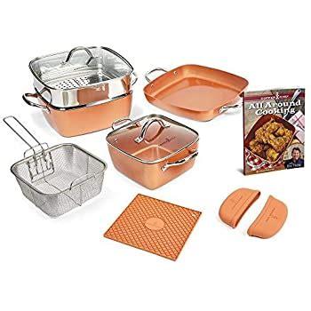 amazoncom copper chef  piece square casserole cookware
