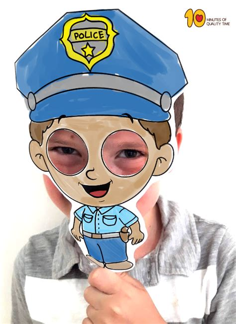 police officer mask template  minutes  quality time