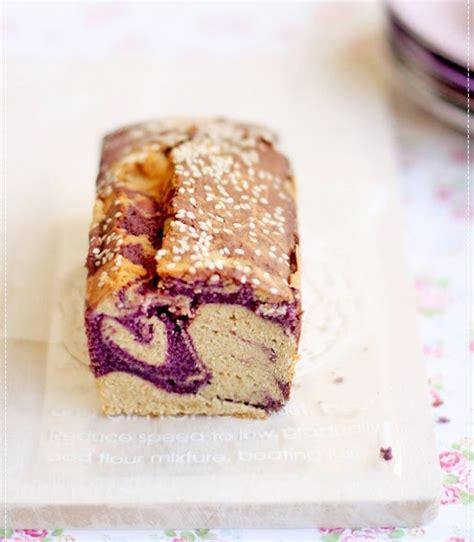 purple sweet potato sesame marble cake evans kitchen