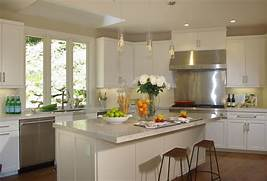 Nice Modern Kitchen Design by White Wooden Cabinet And Kitchen Island With Plus Brown Wooden Stools Having