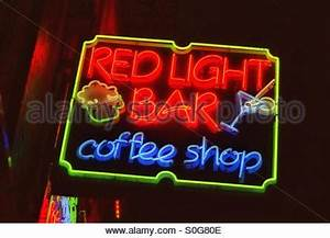 Neon Sign A Coffee Shop In Amsterdam Holland Stock