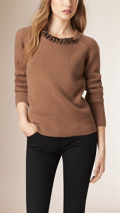 burberry sweater burberry chain detail wool sweater in brown lyst