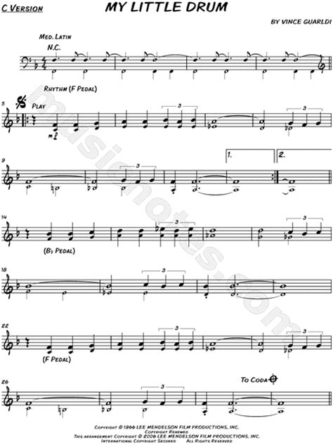 vince guaraldi trio skating sheet music vince guaraldi trio quot my little drum quot sheet music
