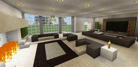 Living Room Ideas Minecraft minecraft family living room and fireplace chair tv