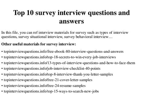 Top 10 Questions Science Can T Answer Template by Top 10 Survey Interview Questions And Answers