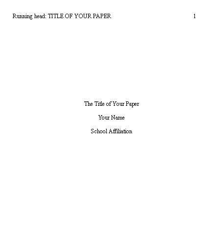 how to write an apa format title page apa format