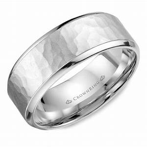 Carved wb 026c7w m10 crownringcom for Crown ring mens wedding bands