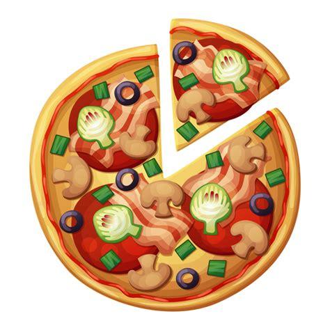 Delicious food cartoon orange lines. Pizza top view. Muchrooms, artichokes, black olives, green ...