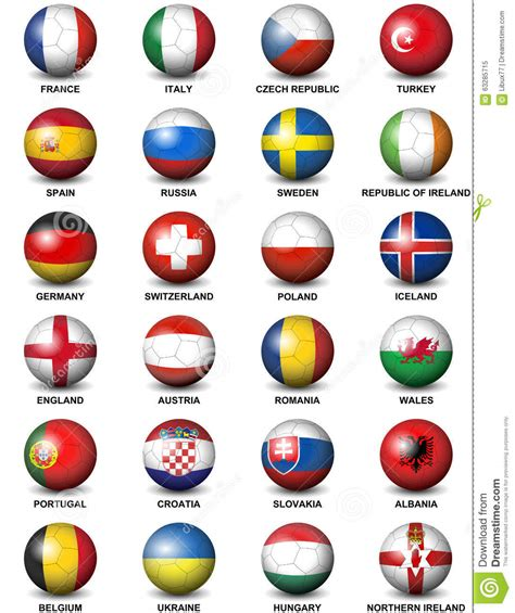The home of european championship football on bbc sport online. Soccer Ball European Countries Flags Euro 2016 Stock ...