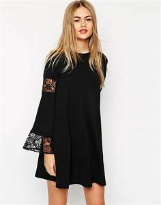 lyst asos boho swing dress with long sleeve and lace With robe évasée manche longue