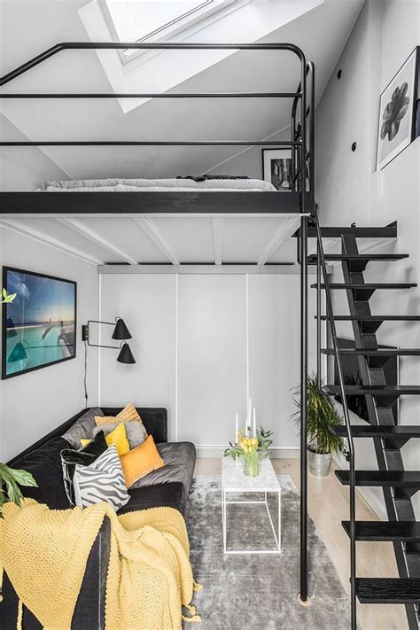 small apartment with mezzanine bedroom in stockholm 31