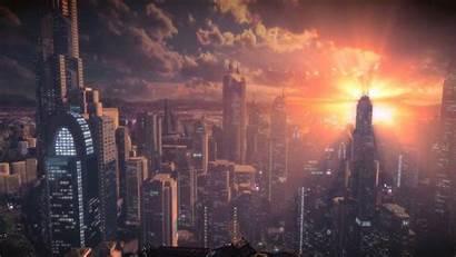Sunset Wallpapers Thefatrat Futuristic Bulletstorm Sun Skyscraper