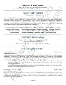 resume sles for teachers with experience sle resumes sle substitute resume resumes