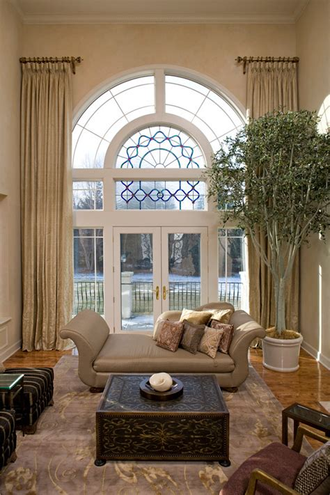 two story curtains two story window treatments living room traditional with