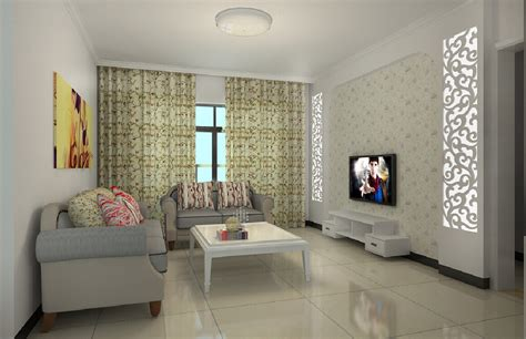 living room simple lighting and sofas 3d house