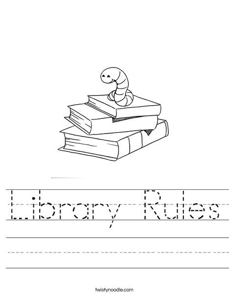 Library Rules Worksheet  Twisty Noodle