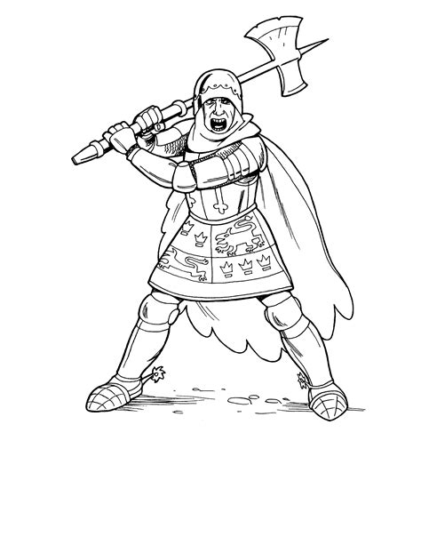 coloring page knight  ax