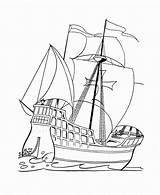 Coloring Pages Boat Boats Printable Ships Santa sketch template