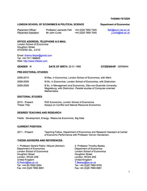 Curriculum Vitae Phd Candidate by Ebook Resume Phd Candidate