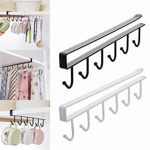 6, Hanger, Hooks, Cup, Holder, Hang, Kitchen, Cabinet, Under, Shelf, Storage, Rack, Organiser, Hook