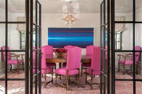 pink dining chairs  silver moravian star pendant contemporary dining room