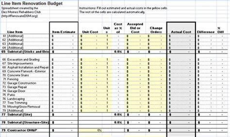renovation construction budget spreadsheet