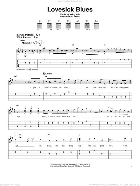 Free guitar sheet music pages. Williams - Lovesick Blues sheet music for guitar solo (easy tablature)