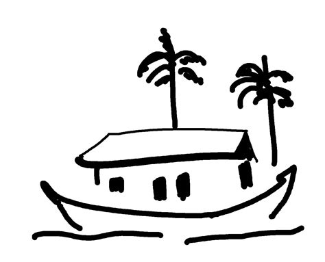 House Boat Drawing by Chummadraw The House Boat In Few Lines