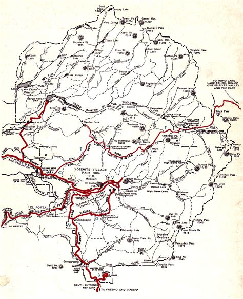 self guiding auto tour of yosemite national park 1956