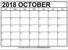 Printable October 2018 Calendar Templates 123CalendarsCom