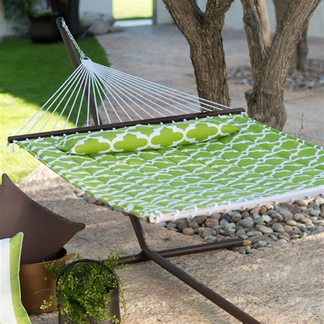 Hammocks For Sale With Stand by Island Bay 13 Ft Apple Green Quatrefoil Quilted Hammock