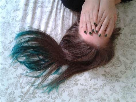 Teal Dip Dyed Hair On Natural Medium Brown Hair With