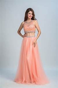 Round Prom Dresses, Watermelon Two Piece Prom Dresses ...