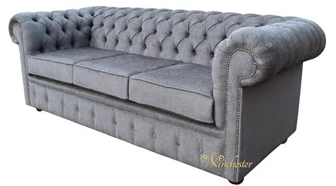 Chesterfield Settee by Chesterfield 3 Seater Settee Verity Plain Steel Fabric