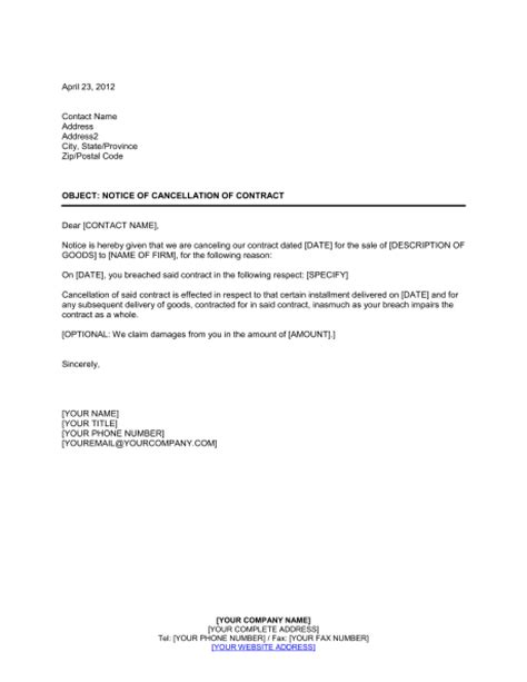 notice  cancellation  contract template word
