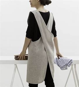 Curved Crossback Linen Apron Home Kitchen & Pantry