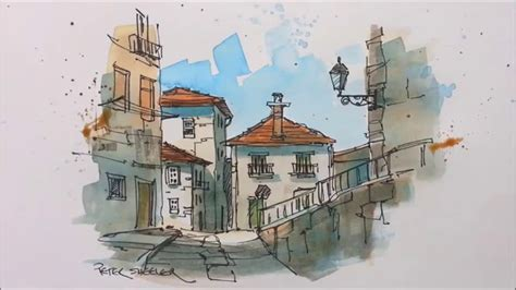 wash watercolor   urban sketching style